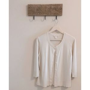 Coldwater Creek Silk Cotton Button Front Cardigan